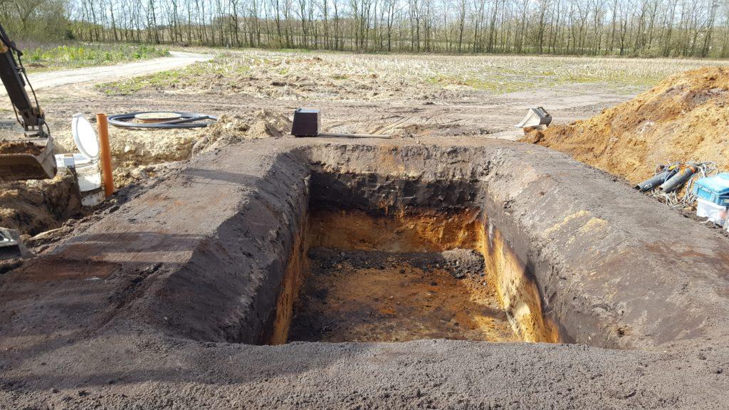 Beplantet filteranlæg - udgravning